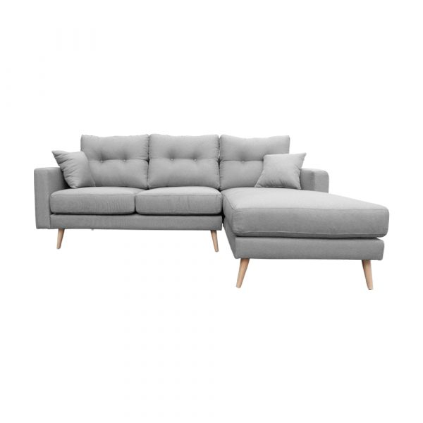 Diva L Shape 3s Sofa Frontal View Right Side Light Grey
